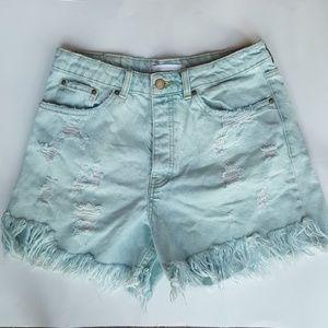 Zara High Rise Distressed jean shorts